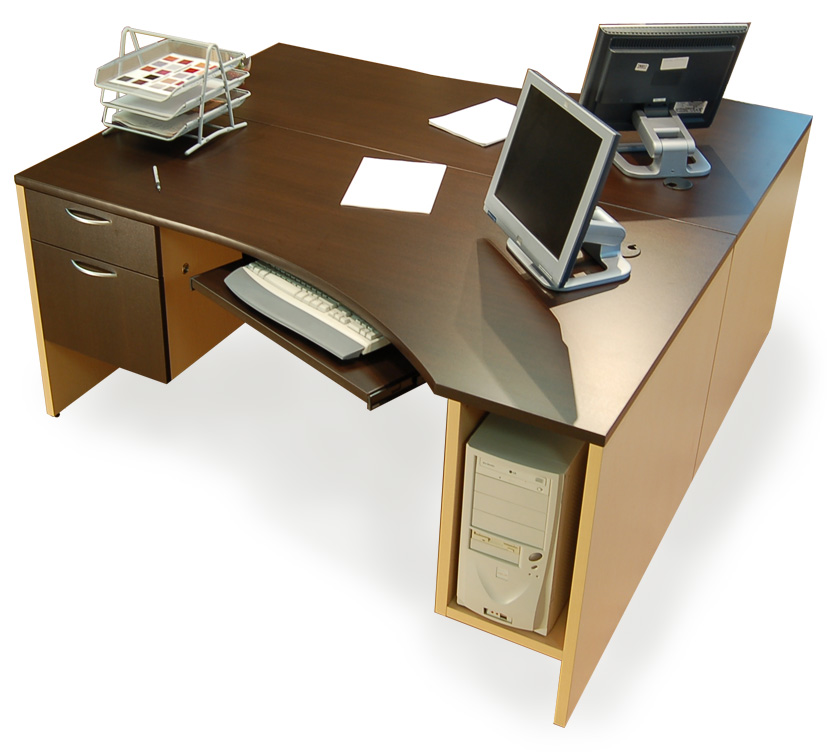 IOF Double Corner Desks with CPU holders, box/file drawers, sliding
